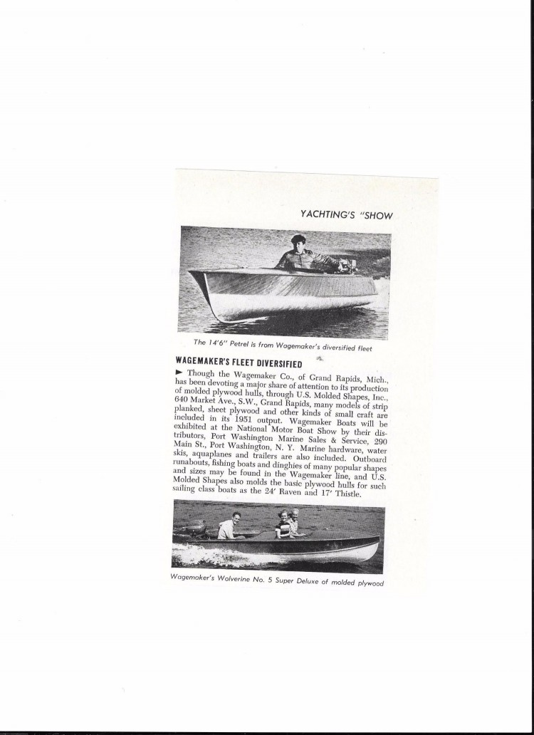 This is a 1951 Wagemaker Wolverine Boats ad by Wagemaker Boat company by Brian Fogarty.