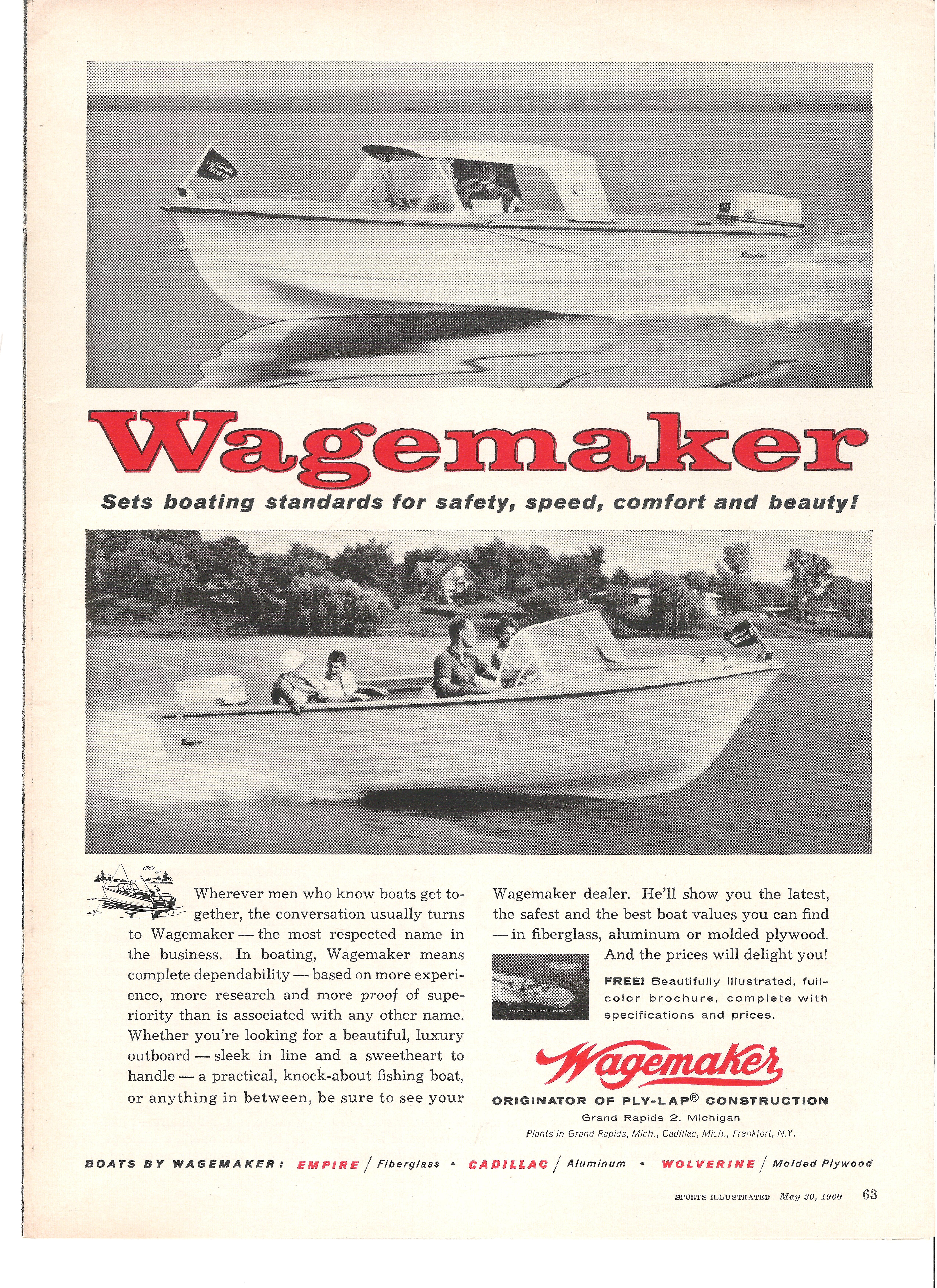 This is a 1960 wagemaker boat ad by wagemaker boat company by brian fogarty