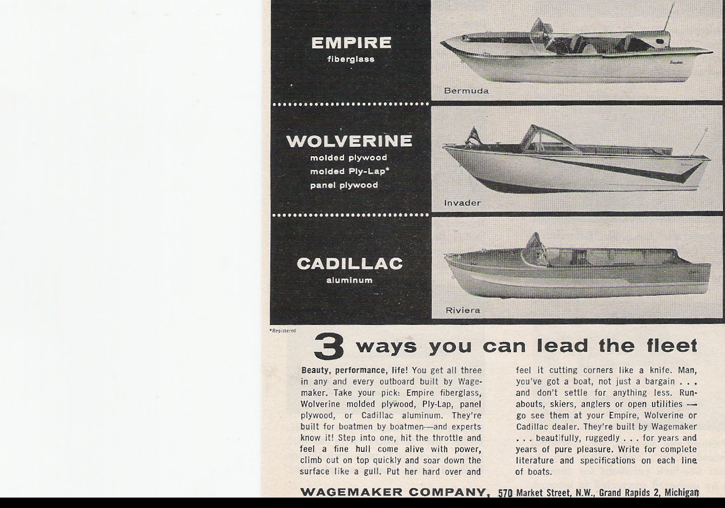 This is a 1959 wagemaker boats ad by wagemakerboat co by brian fogarty below