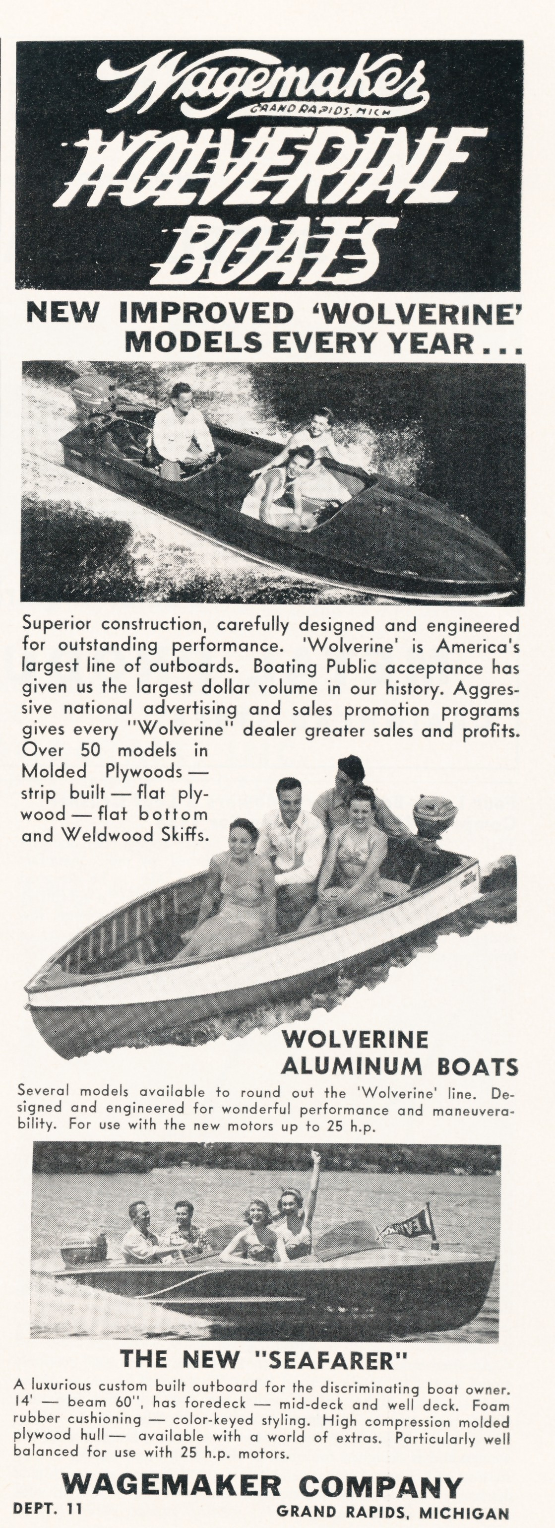 This is a 1950 wagemaker boat ad by wagemaker boat co and lee wangstad below