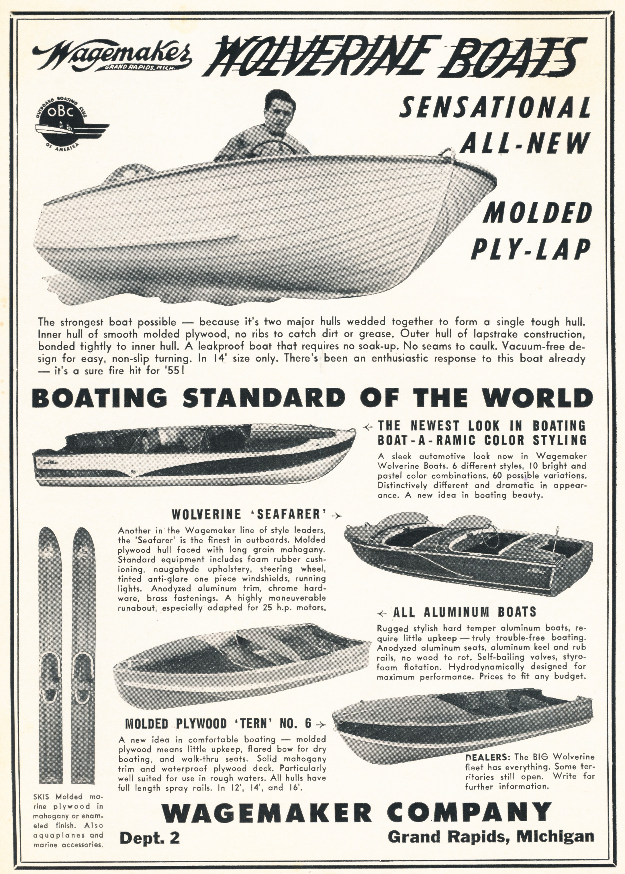 This is a 1954 wagemaker boats ad by wagemaker boat co and by lee wangstad below