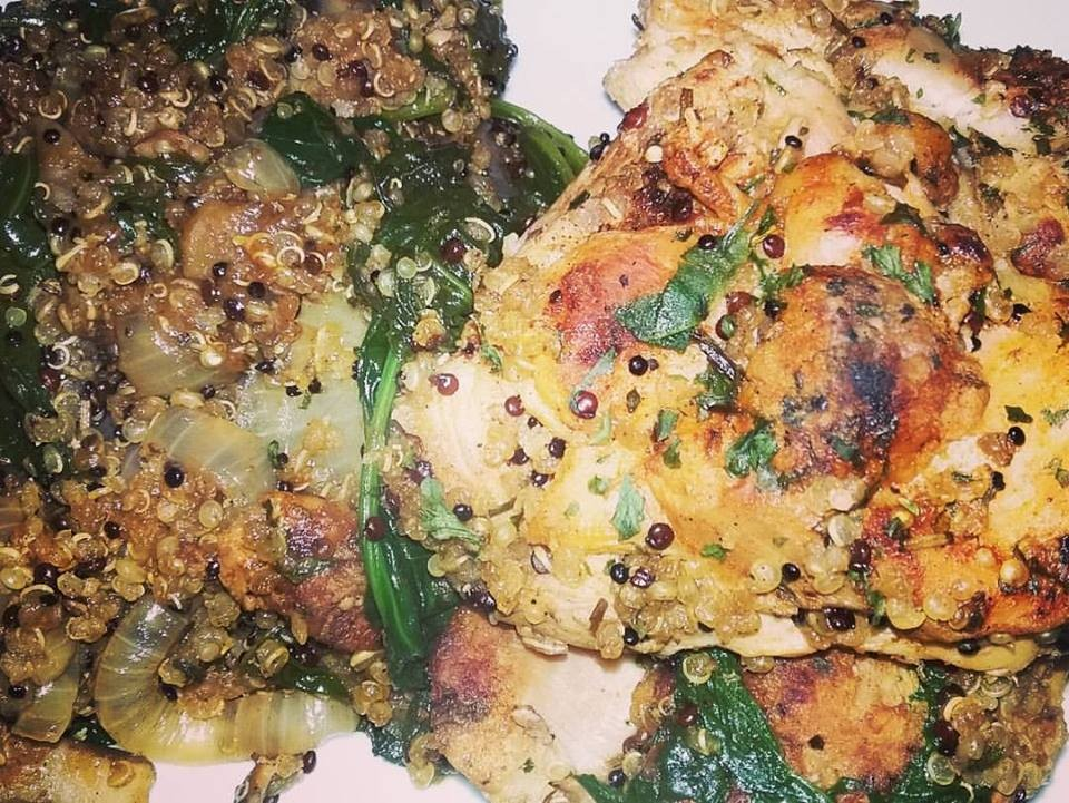 Braised Chicken Thighs, Quinoa w Spinach and Carmelized Onion