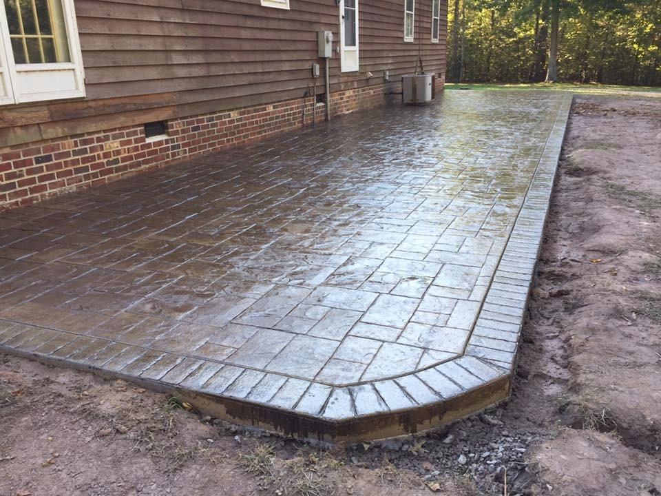Additional Small Shed Pad Stamp Used Textured Colors Irish Coffee Integral Charcoal Release Stamped Concrete Pool Deck