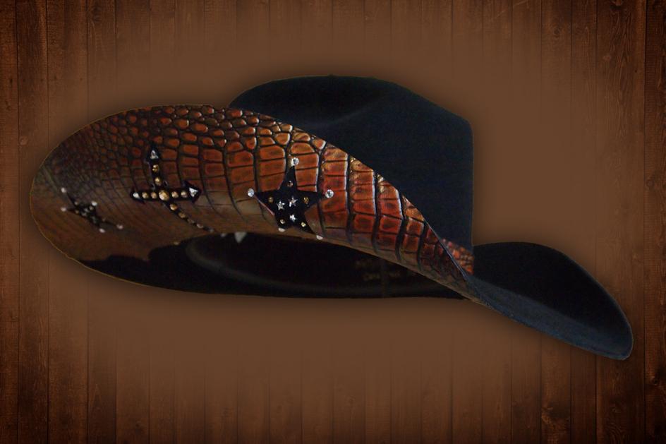 Custom Gator Skin Cowgirl Barrel Racer Cowboy Hat