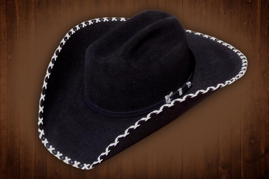 Custom Stitched Brim Cowboy Hat Cowgirl