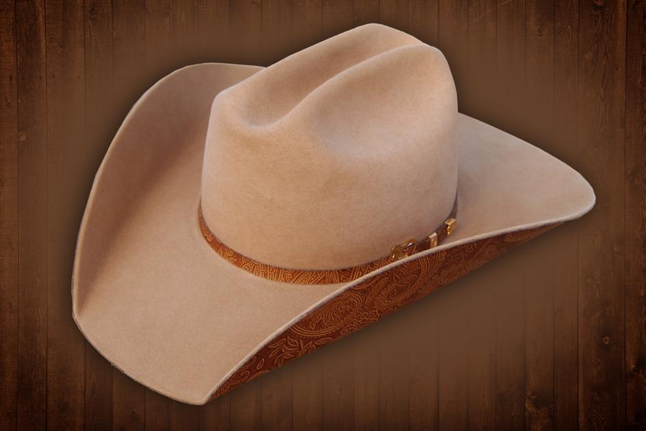 1e5b35cf224a7 ... Custom Paisley Brim Cowboy Cowgirl Hat