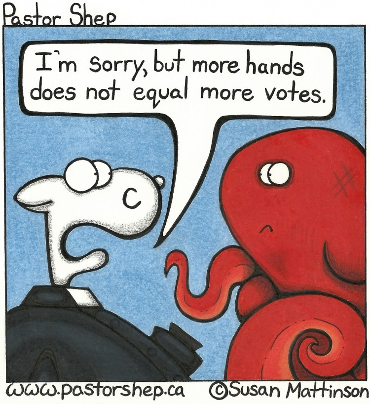 octopus meeting more hands more votes pastor shep christian cartoon