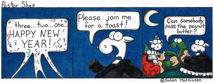 happy new year toast pass peanut butter pastor shep christian cartoon