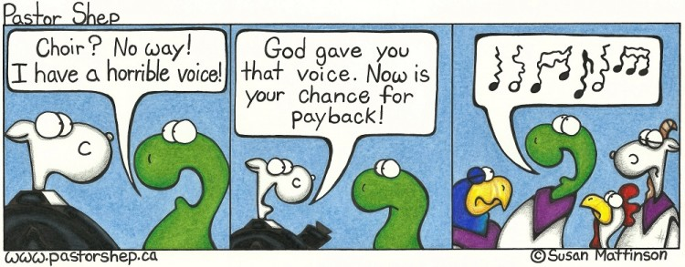 choir voice bad singing god gift pastor shep christian cartoon