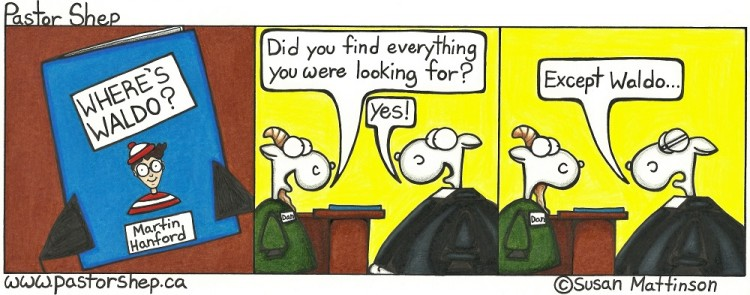 where's waldo search looking found pastor shep christian cartoon
