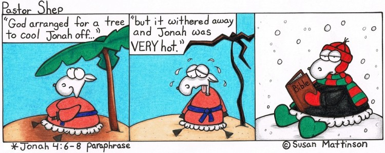 jonah tree hot withered bible read winter pastor shep christian cartoon