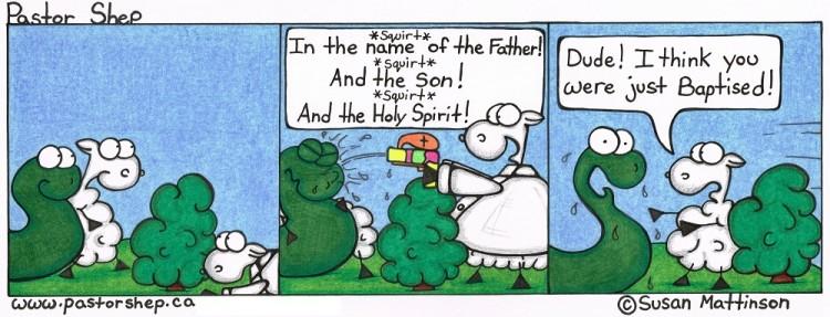 squirt gun water baptism father son holy spirit pastor shep christian cartoon