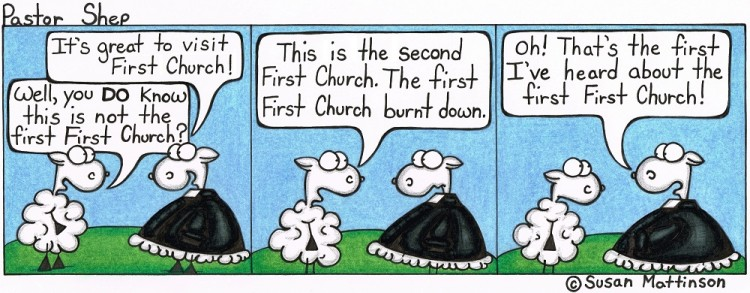 second first church minister visit pastor shep christian cartoon