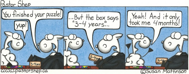 puzzle three four years months pastor shep christian cartoon