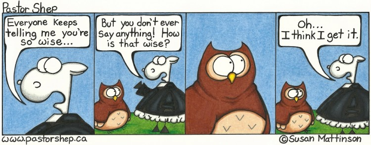 wise owl silent not say anything pastor shep christian cartoon