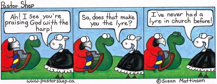 harp lyre liar church minister pastor shep christian cartoon