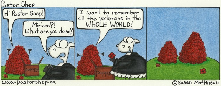 canada poppies remembrance day veterans pastor shep christian cartoon