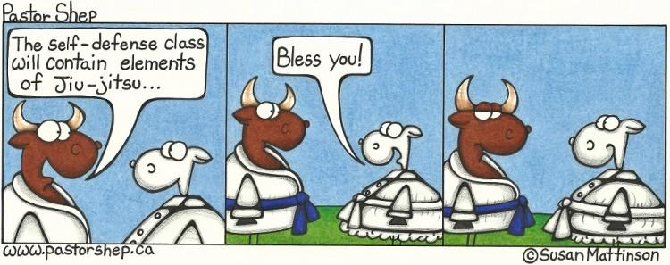 self-defense jiu-jitsu wrestling sneeze bless you pastor shep christian cartoon