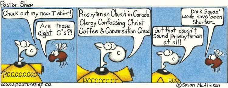 presbyterian church canada clergy coffee conversation crew dork pastor shep christian cartoon