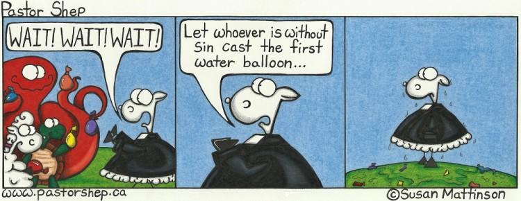 summer water balloon bible john without sin cast first pastor shep christian cartoon