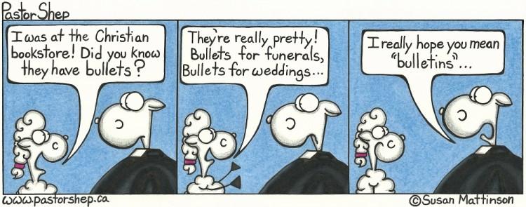 christian bookstore church bulletins wedding funerals bullets pastor shep cartoon