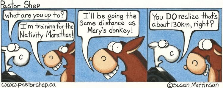 christmas nativity marathon donkey mary joseph pastor shep christian cartoon