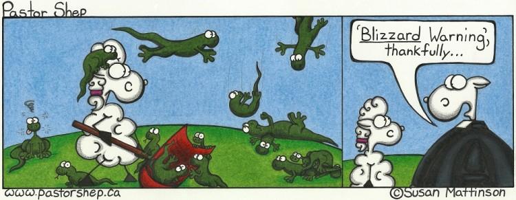 sunday winter weather blizzard lizard warning pastor shep christian cartoon