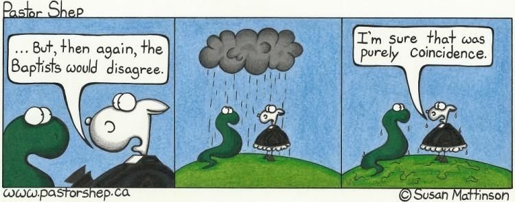 baptist coincidence baptism rain presbyterian pastor shep christian cartoon