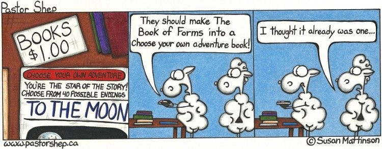 presbyterian book of forms choose your own adventure pastor shep christian cartoon