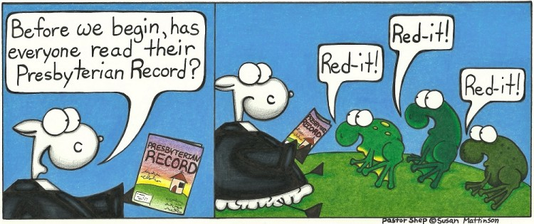presbyterian record magazine frog read it reddit red-it ribbit pastor shep christian cartoon