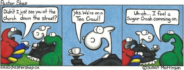 fall winter summer church tea crawl sugar crash pastor shep christian cartoon