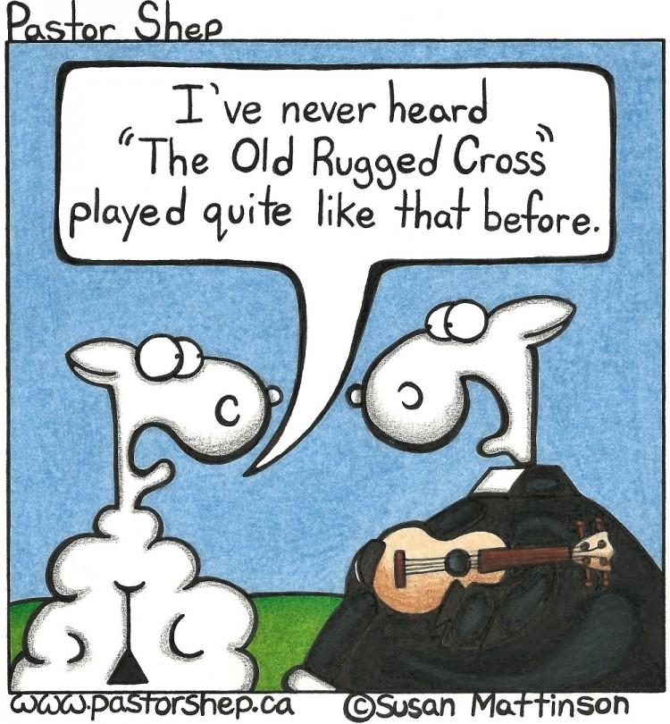 ukulele hymn old rugged cross sing music pastor shep christian cartoon