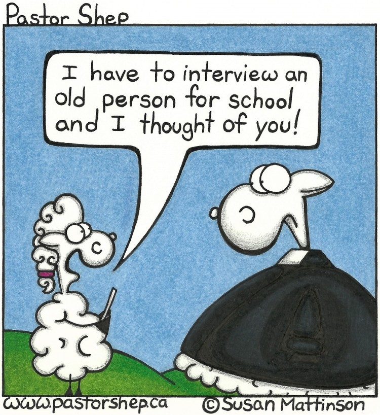 school interview old person miriam pastor shep christian cartoon