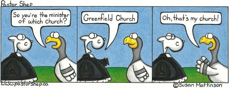 minister my church attendance greenfield pastor shep christian cartoon