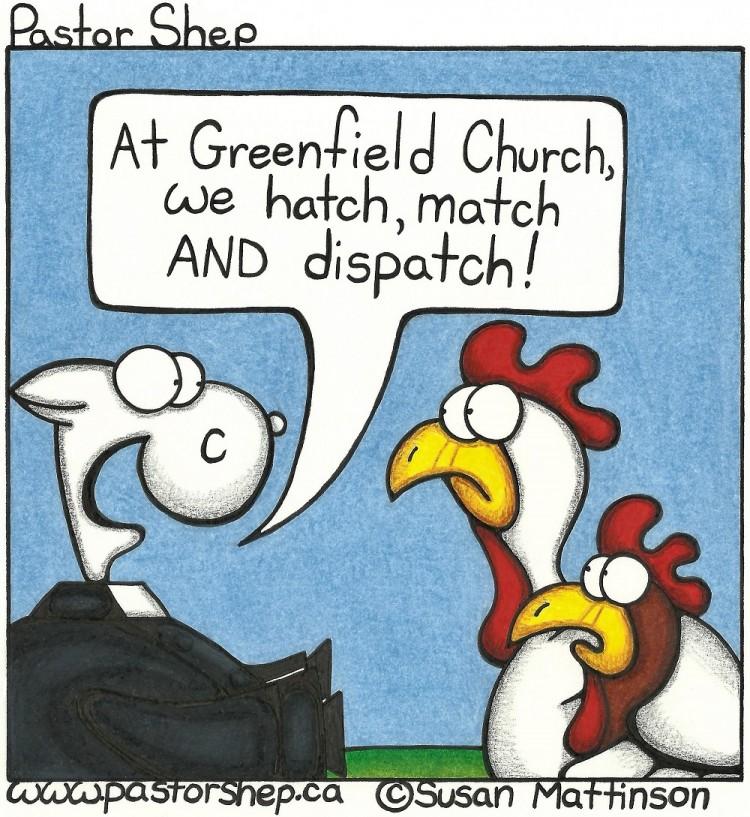 church hatch match dispatch baptism wedding funeral pastor shep cartoon