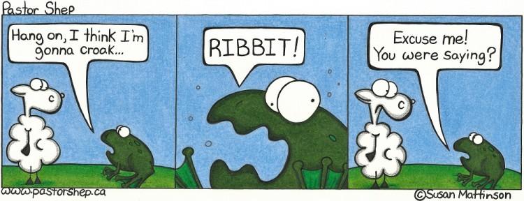 croak ribbit frog sheep pastor shep christian cartoon