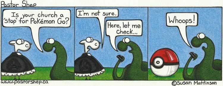 pokemon go pokestop pokeball pastor shep christian cartoon