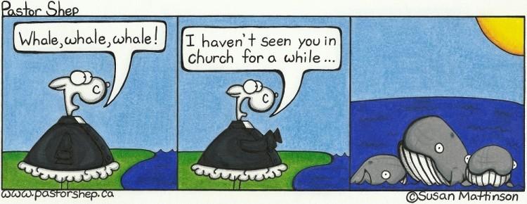 whale church while pastor shep christian comic strip