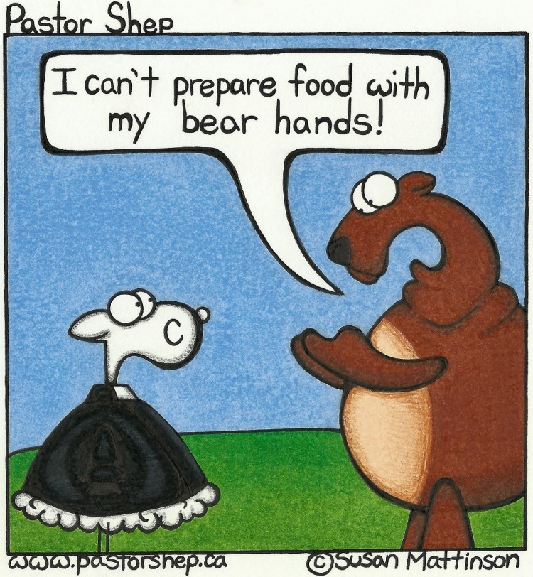 excuse prepare food bear bare hands pastor shep christian comic