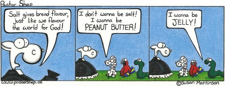 jesus salt earth bread peanut butter jelly pastor shep christian comic