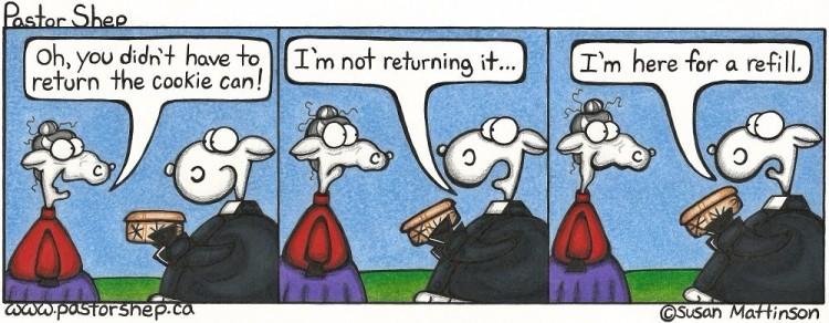 christmas cookies can return refill pastor shep christian comic strip