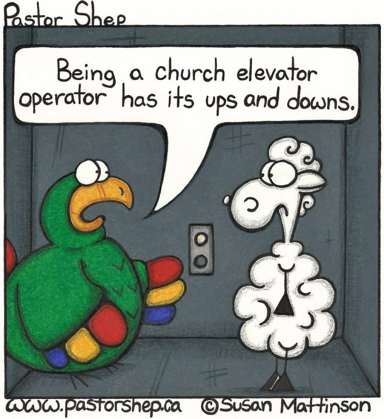 church elevator operator ups and downs pastor shep christian comic