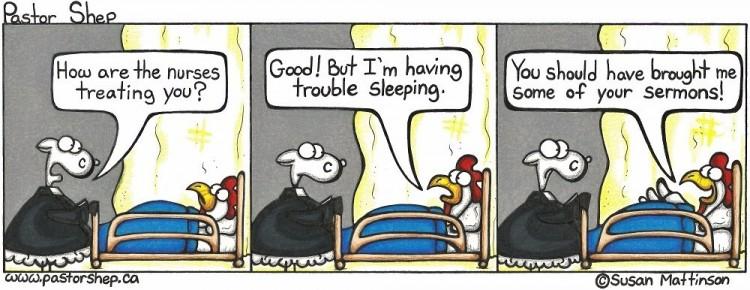 nurse treat trouble sleeping brought sermons pastor shep christian comic