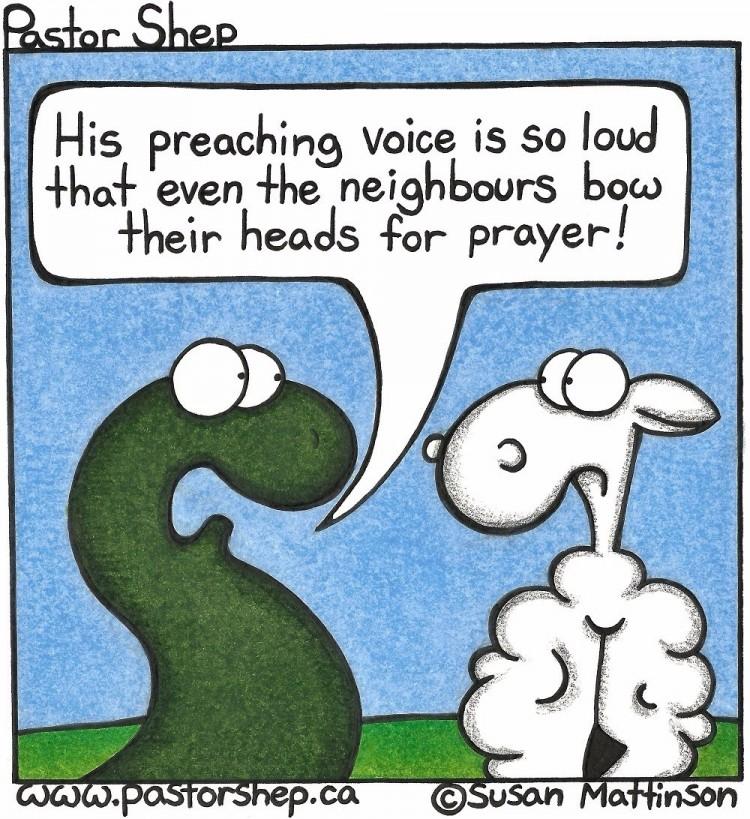 preaching voice loud even neighbours pray pastor shep christian comic webcomic