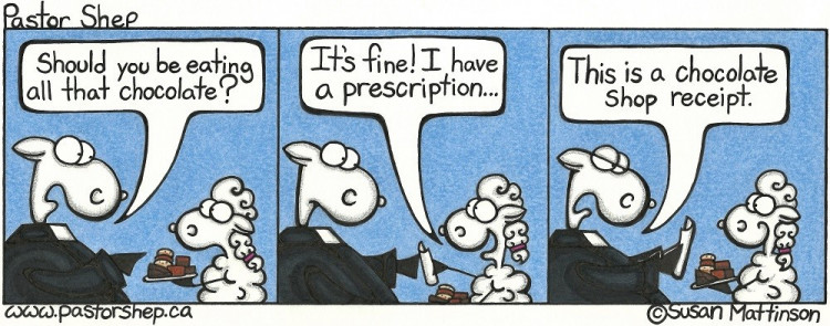 love eat chocolate prescription shop receipt pastor shep christian comic