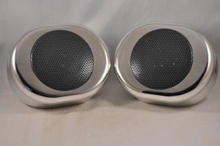 Chrome Oval Motorcycle Speakers