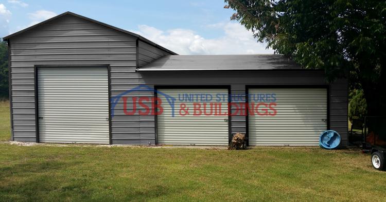 Split level metal garage for 2 level garage