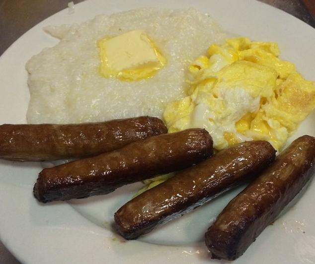 J's Cafe Soul Food Breakfast Grits Sausage Eggs