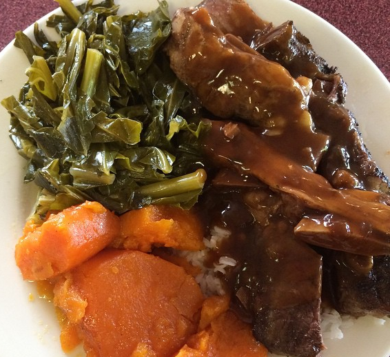 J's Cafe Soul Food Short Ribs Gravy Greens and Sweet Potatoes