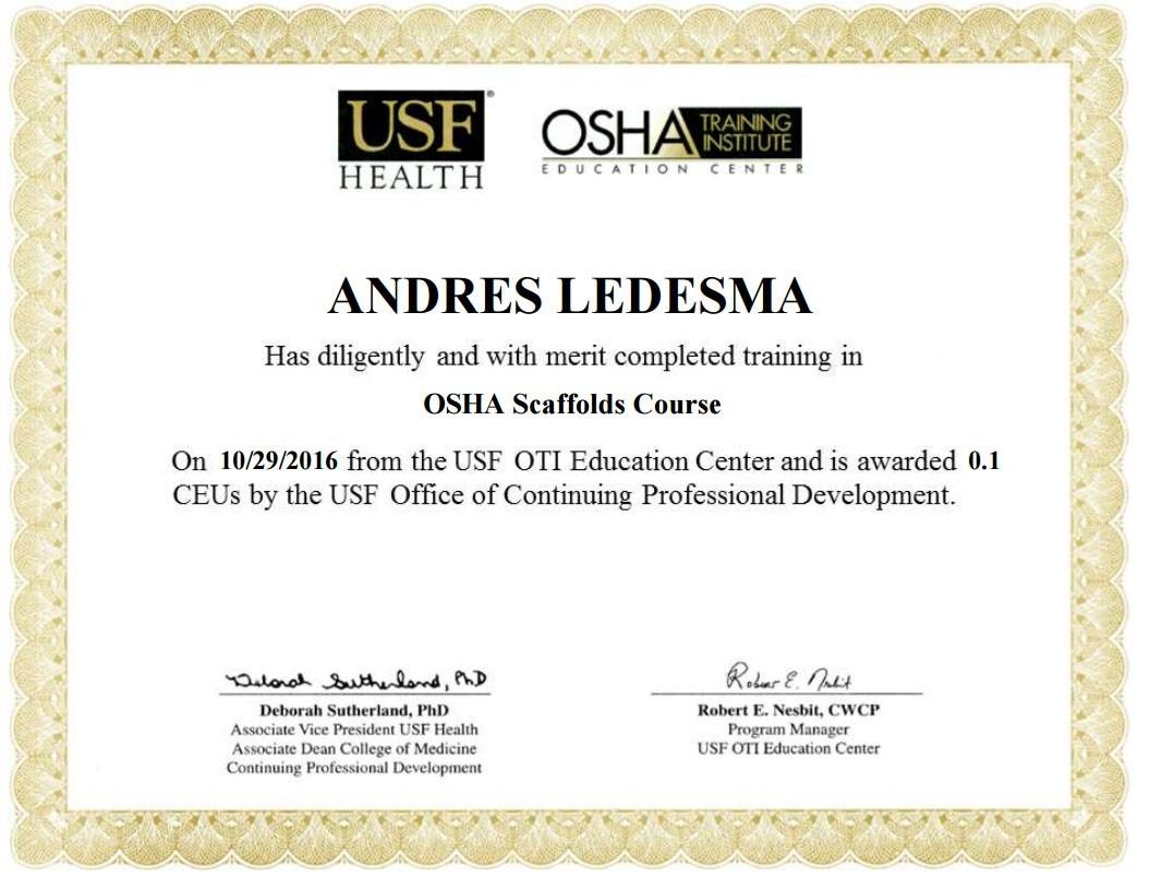 Osha Certificate Gonzalez Stucco